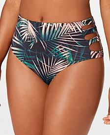Printed Cutout High-Waist Bikini Bottoms, Created for Macy's