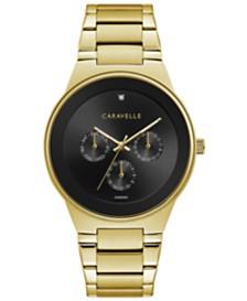 Caravelle Designed by Bulova  Designed by Bulova Men's Diamond-Accent Gold-Tone Stainless Steel Bracelet Watch 40mm