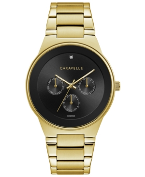 Designed by Bulova Designed by Bulova Men's Diamond-Accent Gold-Tone Stainless Steel Bracelet Watch 40mm