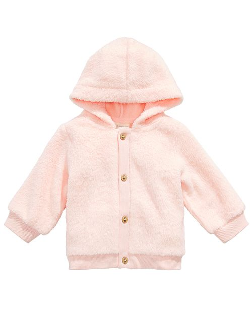 First Impressions Baby Girls Faux-Fur Hooded Cardigan, Created for Macy's
