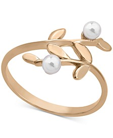 Gold-Plated Sterling Silver Imitation Pearl Vine Statement Ring
