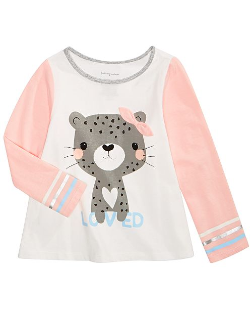 First Impressions Toddler Girls Cheetah-Print Cotton T-Shirt, Created for Macy's