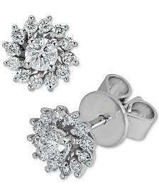 Diamond Flower Stud Earrings (3/8 ct. t.w.) in 14k White Gold