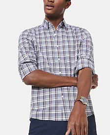 Michael Kors Men's Slim-Fit Stretch Melangé Checked Shirt