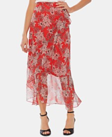 Vince Camuto Tiered Floral Mesh Wrap Skirt