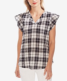 Plaid Flutter-Sleeve Tunic Top