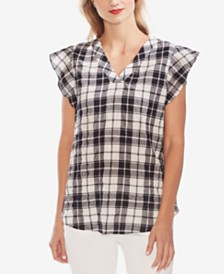 Vince Camuto Plaid Flutter-Sleeve Tunic Top