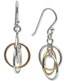 Giani Bernini Two-Tone Orbital Drop Earrings in Sterling Silver & 18k Gold-Plate, Created for Macy's