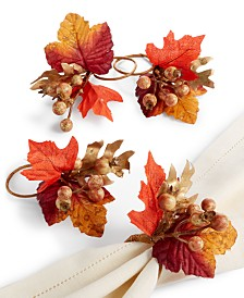 Martha Stewart Collection Leaf Trim Napkin Rings, Set of 4, Created for Macy's