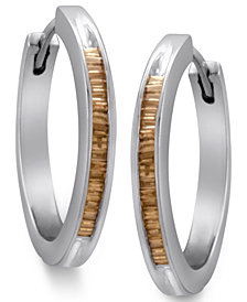 Sterling Silver Earrings, Champagne Diamond Baguette Hoop Earrings (1/2 ct. t.w.)