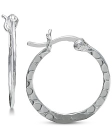 Giani Bernini Textured Hoop Earrings in Sterling Silver, Created for Macy's