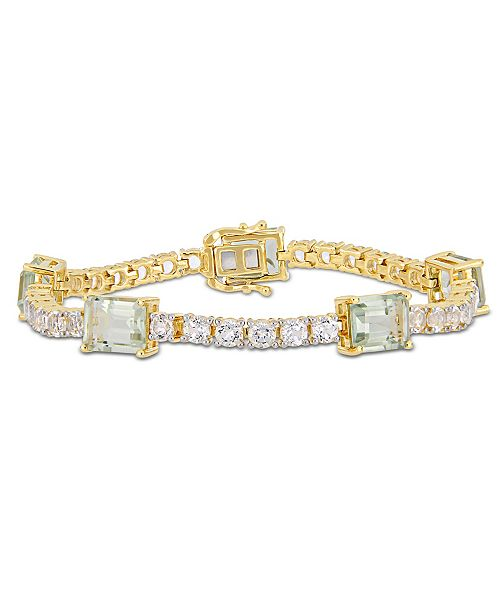 Delmar Prasiolite (16 ct. t.w.) and White Topaz (9 ct.t.w.) Station Link Bracelet in 18k Gold over Sterling Silver