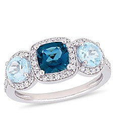 Blue Topaz (2-1/6 ct.t.w.) and Diamond (1/3 ct.t.w.) 3-Stone Halo Ring in Sterling Silver