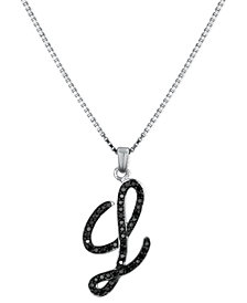 "Sterling Silver Necklace, Black Diamond ""L"" Initial Pendant (1/4 ct. t.w.)"