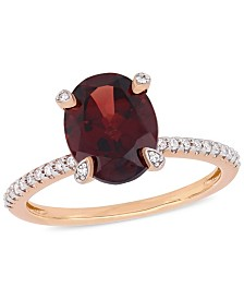 Garnet (3 ct.t.w.) and Diamond (1/10 ct.t.w.) Ring in 10k Rose Gold