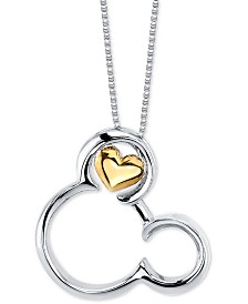 "Disney's Mickey Mouse Pendant Necklace in Two-Tone Sterling Silver for Unwritten, 18"" Chain"