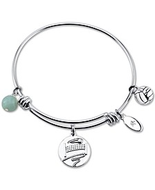 """Kiss My Ace"" Volleyball Charm Adjustable Bangle Bracelet in Stainless Steel"