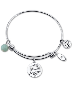 "Unwritten ""Kiss My Ace"" Volleyball Charm Adjustable Bangle Bracelet in Stainless Steel"