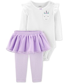Baby Girls 2-Pc. Unicorn Bodysuit & Tutu Leggings Set