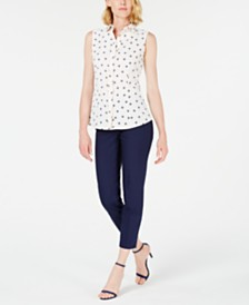 Anne Klein Dot-Print Blouse & Stretch Pants