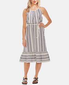 Vince Camuto Dobby Stripe Halter Dress