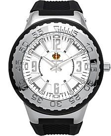Pendragon Men's Watch Black Silicone Strap, Silver Case, Silver Dial, 53mm