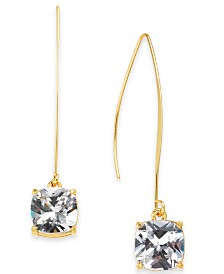 I.N.C. Gold-Tone Cubic Zirconia Square Linear Drop Earrings, Created for Macy's