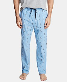 Men's Cotton Pelican-Print Pajama Pants