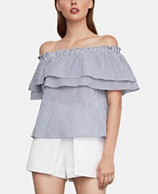 BCBGMAXAZRIA Cotton Striped Off-The-Shoulder Top