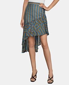 BCBGMAXAZRIA Printed Asymmetrical-Hem Skirt