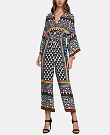 BCBGMAXAZRIA Mixed-Print Wide-Leg Jumpsuit