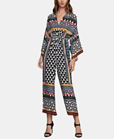 BCBGMAXAZRIA Mixed-Print Wide-Leg Jumpsuit