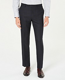 Men's Modern-Fit THFlex Stretch Blue/Charcoal Windowpane Plaid Suit Pants