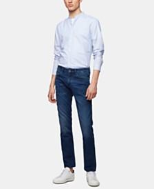 BOSS Men's Delaware3 Slim-Fit Green-Cast Stretch-Denim Jeans