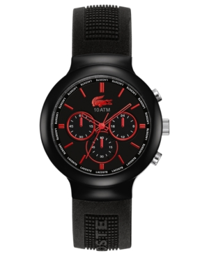 Lacoste L!Ve Watch, Men's Chronograph Borneo Black Silicone Strap 44mm 2010652