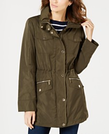 Michael Michael Kors Petite Hooded Anorak Raincoat, Created for Macy's