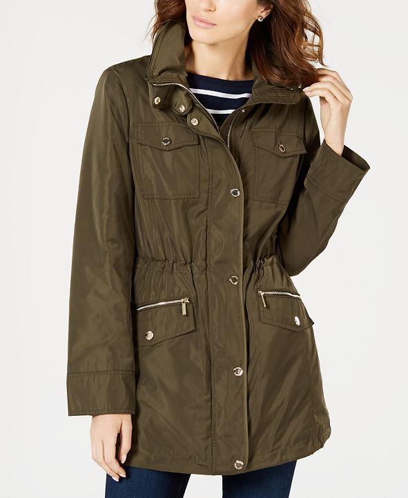 Michael Kors Petite Hooded Anorak Raincoat, Created for Macy's