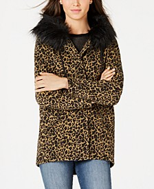 Juniors' Leopard-Print Faux-Fur-Trim Hooded Jacket