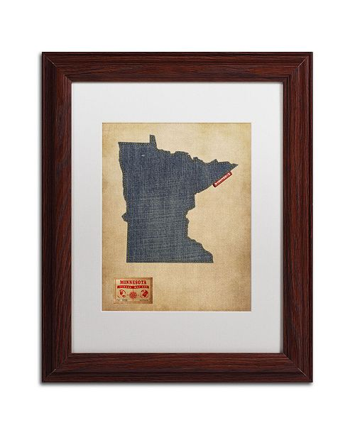 "Trademark Global Michael Tompsett 'Minnesota Map Denim Jeans Style' Matted Framed Art - 14"" x 11"""