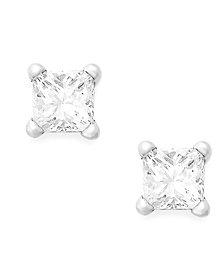 Princess-Cut Diamond Stud Earrings in 10k Yellow or White Gold (1/5 ct. t.w.)