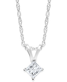 Princess-Cut Diamond Pendant Necklace in 10k White Gold (1/5 ct. t.w.)