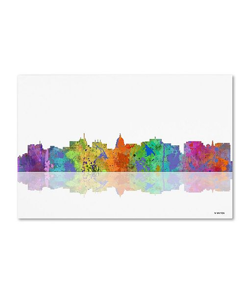 "Trademark Global Marlene Watson 'Madison Wisconsin Skyline' Canvas Art - 12"" x 19"""