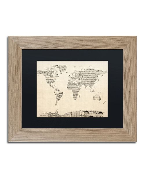"Trademark Global Michael Tompsett 'Old Sheet Music World Map' Matted Framed Art - 11"" x 14"""
