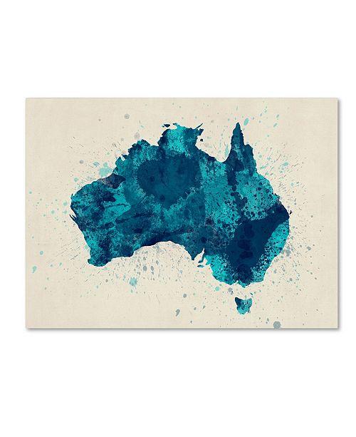 "Trademark Global Michael Tompsett 'Australia Paint Splashes Map 2' Canvas Art - 14"" x 19"""