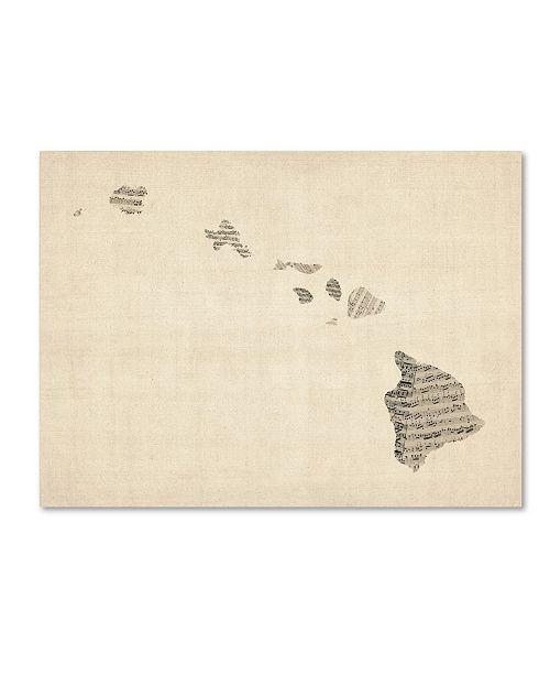"""Trademark Global Michael Tompsett 'Old Sheet Music Map of Hawaii' Canvas Art - 14"""" x 19"""""""