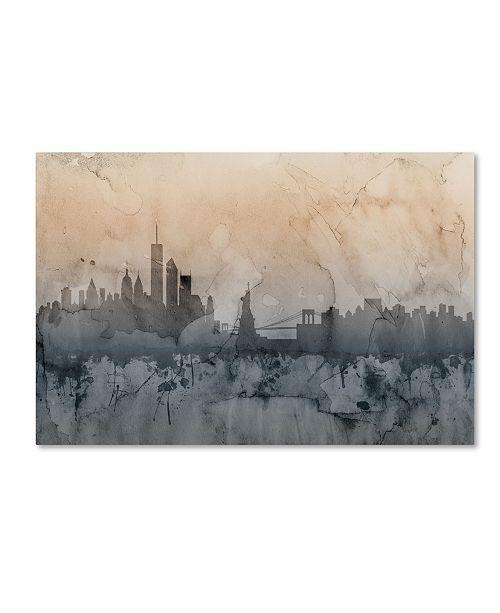 "Trademark Global Michael Tompsett 'New York Skyline VI' Canvas Art - 12"" x 19"""