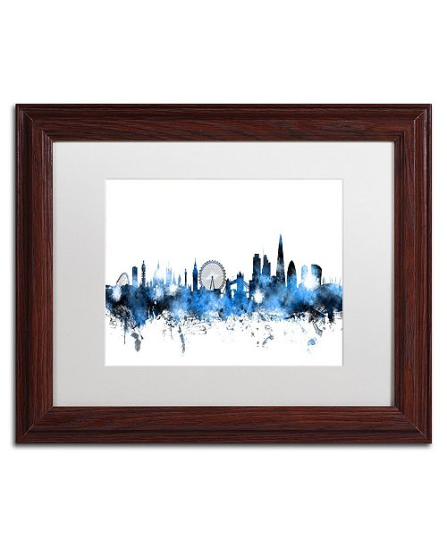 "Trademark Global Michael Tompsett 'London England Skyline' Matted Framed Art - 11"" x 14"""