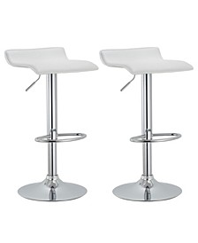 Contoured Hydraulic Lift Chrome Base Bar Stool with Footrest, Set of 2