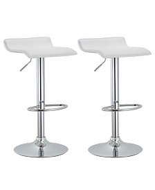 AC Pacific Contoured Hydraulic Lift Chrome Base Bar Stool with Footrest, Set of 2