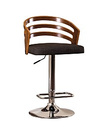 AC Pacific Modern Wood Back and Fabric Adjustable Swivel Bar Stool with Cushion